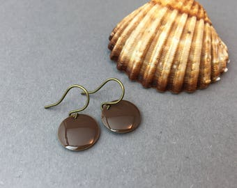 Brass plates enameled earrings Brown