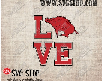 Razorback Love design Svg, Dxf, Jpg, Png, & Eps files for Silhouette Cricut Vinyl Cutting and Printing