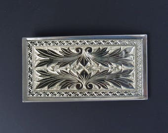 Engraved Silver Tone Belt Buckle