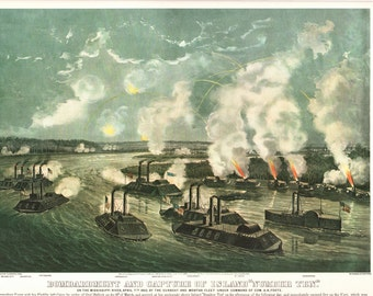 """Currier and Ives Extra Large print Bombing Island Ten, the page is approx. 18 1/2"""" wide and 14"""" tall. The image is 14 3/4"""" X 10 1/2""""."""