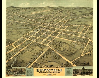 """Panoramic Map of Huntsville AL 1851. Great Wall Decor for Living rooms, dens, offices, man Caves. Your page can be printed up to 12"""" X18"""""""