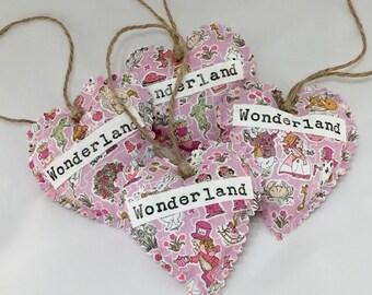 Wonderland Hanging Heart made with Alice in Wonderland Liberty Fabric
