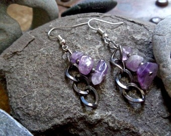 Silver, hypoallergenic earrings with silver chain and semi-precious amethyst stone beads