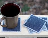 Coasters - Set of 4 - Denim with Gray Vinyl Backing