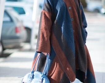 Wool Cashmere Women's Coat, Wool Coat, Maxi Coat, Asymmetrical Wool Coat, Extravagant Zipper Coat by EUG FASHION / 3595
