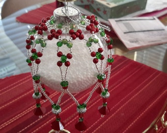 Christmas, beaded ornament covers, Christmas tree skirts, felt sequined Christmas stocking,  holidays, crystal,