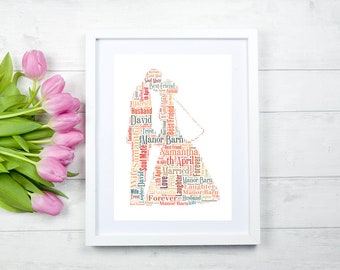 Personalised Wedding Couple Word Art,Wedding Gift,1st Anniversary Gift(Paper),Valentines Gift,Personalised Gift ***PRINT ONLY***