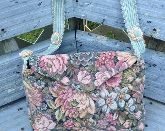 ANTIQUE Flower Tapestry  SHOULDER STRAP in a soft blue shoulder strap