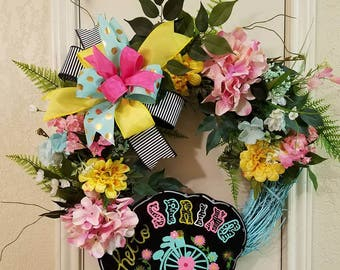 Hello Spring Grapevine Wreath, Spring Wreath,Grapevine Wreath,Everyday Wreath, Hello Spring Wreath,Mothers Day Wreath, Spring