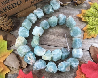 1 strand Raw Amazon Rough Crystals Natural Blue Gemstone Specimen Original Amazonite Gemstone Loose Beads