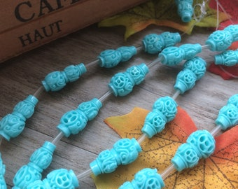 "1 Strand  Sky Blue 15"" Plastic Carved Gourdl Shape Spacer Charms Loose Beads DIY Supplier For Handcarfts Bracelets"