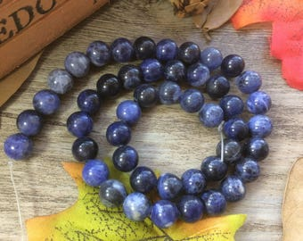 "1 Strand 15"" 8mm Natural Blue Sodalite Round Stone  Loose Beads DIY Suppliers for Jewelry  Spacer Charms"