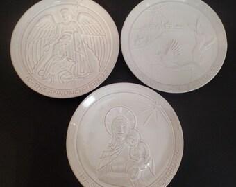 Three White Frankoma Christmas Plates 1973-1975