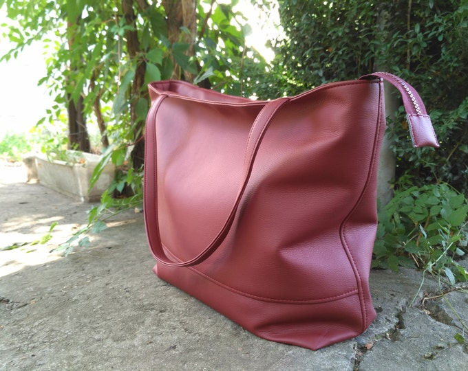 Large Tote bag, Organizer bag, Many pockets Shoulder Bag, Burgundy Handbag Women,