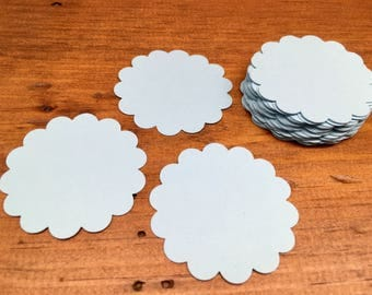Scallop Circle Die Cuts - Blue Scallop Circles - Circle Tags - Baby Shower Tags - Card Stock Die Cuts - 24 Count