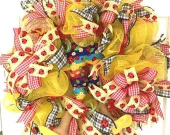 Deco Mesh Wreath, Summer front door wreath, Ladybug Wreath, Whimsical Wreath, Red and yellow, Front Door, Home Decor Wreath