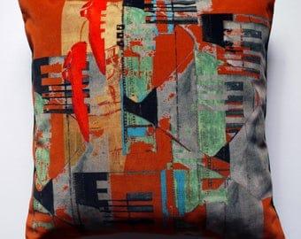Designer Velvet Pillow / Colourful Scatter Cushion / Funky Design Pillow / Artistic Throw Pillow / Contemporary Modern Cushion