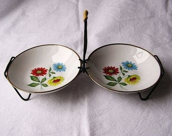 """70s Serving Dish or Snack Plate """"Spring Flowers"""" / Hand painted + Real gold rim / Brand Winterling"""