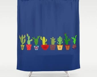 Cactus shower curtain-Cacti shower curtain-Cacto Cool shower curtain-Blue bathroom decor-Etsy gift-Modern bath curtain-Colourful bathroom