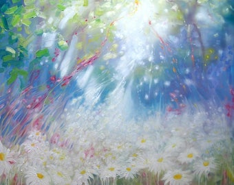 Print on Canvas - Glorious June - a landscape with daisies