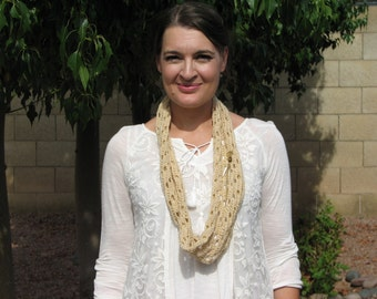 Cream and Gold Metallic Lacy Cowl