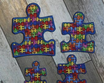 Autism Awareness Puzzle Piece Applique Iron On Patch 4 different sizes to choose from!
