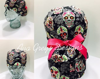 Ponytail Surgical/Scrub Hat-Sugar Skull-CHOOSE YOUR TIES, Hand Made Item by Ava Greys Designs