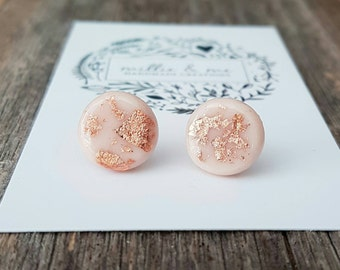 NEW Flesh and copper clay stud earrings.