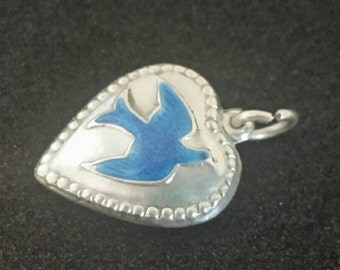 Vintage sterling silver guilloche enamel Bluebird of Happiness puffy heart charm