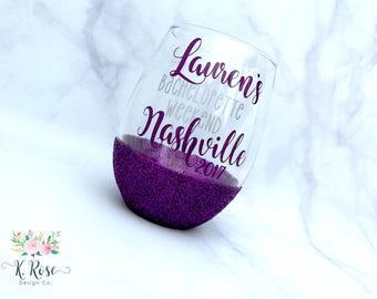 Bachelorette Weekend Wine Glass,Bachelorette Glass,Bridesmaid Glass,Girls Weekend,Bachelorette Party,Glitter Dipped Wine Glass,Bridal Party