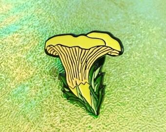 Chanterelle Mushroom Enamel Pin - Lapel Pin - Badge - wild mushroom jewelry - mushroom pin - nature pin - woodland pin - pacific nw