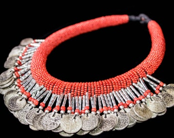 FREE SHIPPING. Handmade Bereber necklace with Coins. Red. Ethnic, Tribal with beads. Vintage, unique, African piece. Ethnic Jewellery, Boho