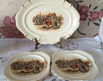 Lancaster & Sandland Hanley Three Piece Set Comprising of a Decorative Oval Plate and Two Pin/Trinket/Butter Dishes.  English Tudor Scene.
