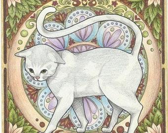 """4.25 x 4.25"""" Ceramic Accent Tile Art Noveau Cat"""