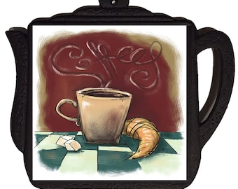 "6"" X 6"" Ceramic Tile Trivet. Coffee and Cruisant"
