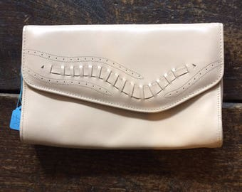 "Vintage 1980s peach pink clutch bag 10.5 x 7"" x 1.5"" pale pink evening bag."