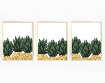 Tropical Nursery, Peekaboo Print, Pineapple Art Set Poster, Triptych Wall Art, Kitchen Wall Art, Pineapple Art Print, Tropical Bedroom Decor