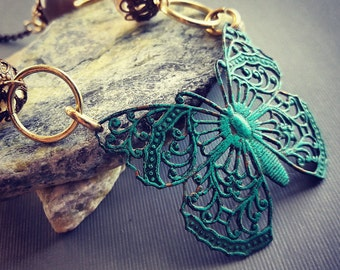 Verdigris Butterfly Beaded Necklace. Gift for Her