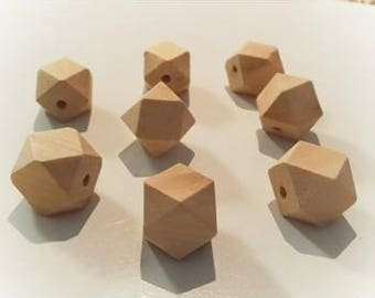 DIY 14mm hexagon GEO, Hexi, polygon faceted Natural Eco Cherry Wood beads- Organic- Wooden - non toxic - Wholesale