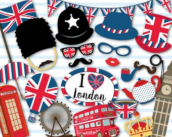 Printable British Party Photo Booth Props, London Inspired Photo Booth Props, England British Travel Photo Booth Props, London Party, 0398
