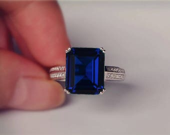 Blue Sapphire Ring Emerald Cut Sapphire Engagement Ring/ Wedding Ring 925 Sterling Silver Ring Anniversary Ring