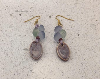 Speckled Earrings, Ceramic Drops, Glass Beads, Waxed Linen, Antiqued Bronze, Antiqued Brass