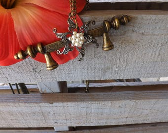 Antique Hardware Pendant and Pin Necklace