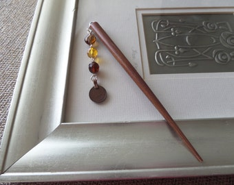 Wooden Beaded Hair Stick, Tribal Belly Dance Bun Holder with Kuchi Coin from Afghanistan