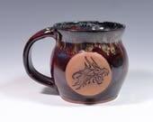 Dragon mug.  Handmade pottery.  Art glaze.