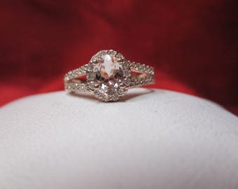 14K Rose Gold Morganite Diamond Ring .65 ct Diamonds
