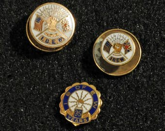 IBEW pins, hat pins, lapel pins, International Brotherhood of Electrical Workers, vintage pins, labor union, service pin, tie tack