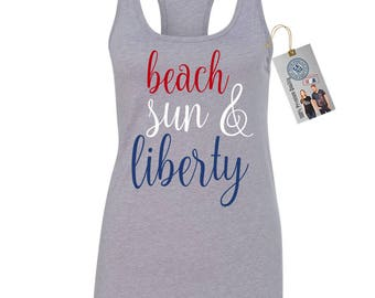 Beach Sun And Liberty 4th of July Womens Racerback Womens Tank Top Tee T Shirt