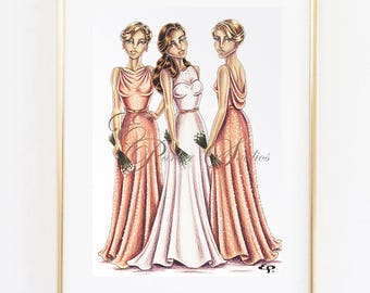 Custom Bridal Illustration with 3 people - Ink and Coloured Pencil Illustration