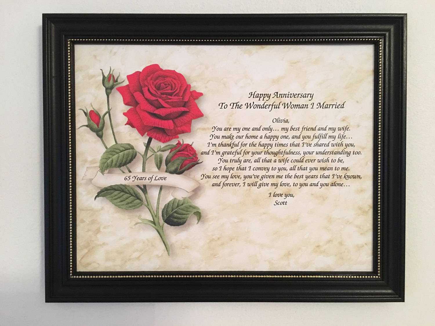 65th Wedding Anniversary Gift Ideas: 65th Anniversary Gift For Wife Love Poem Personalized